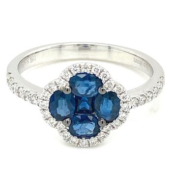 Sapphire & Diamond Halo Fashion Ring
