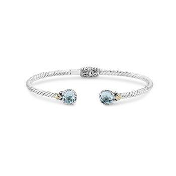 Blue Topaz Twisted Bangle Bracelet