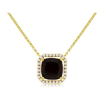 Diamond & Garnet Halo Pendant Necklace