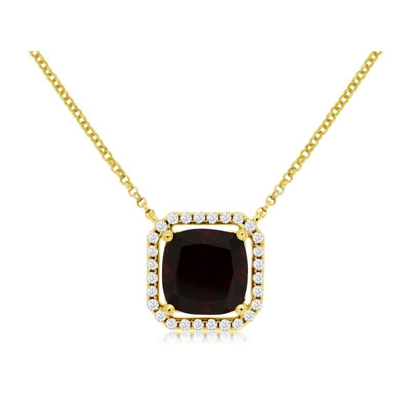 Murphy Pitard Signature Collection Diamond & Garnet Halo Pendant Necklace