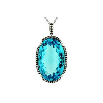 Oval Blue Topaz & Diamond Halo Pendant Necklace