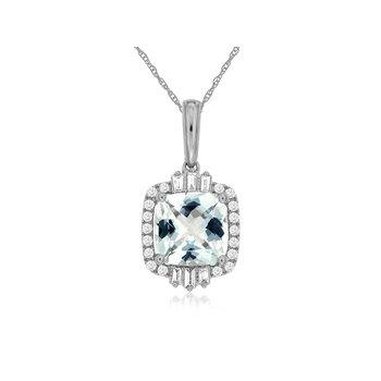 Cushion Aquamarine Diamond Halo Pendant Necklace