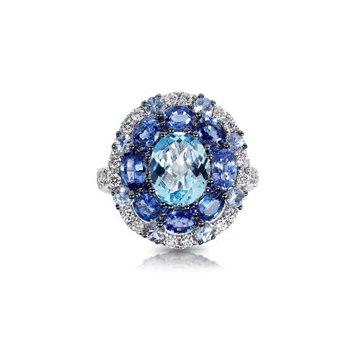 Blue Topaz, Sapphire & Diamond Halo Dinner Ring