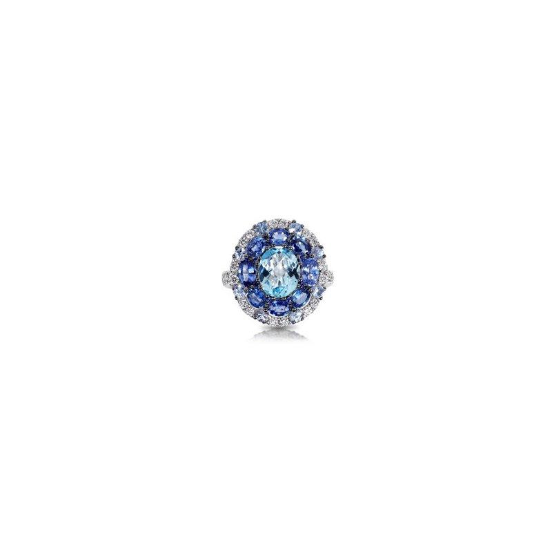 Murphy Pitard Signature Collection Blue Topaz, Sapphire & Diamond Halo Dinner Ring