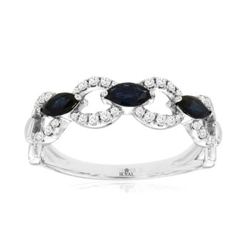 Diamond & Sapphire Link Stackable Band