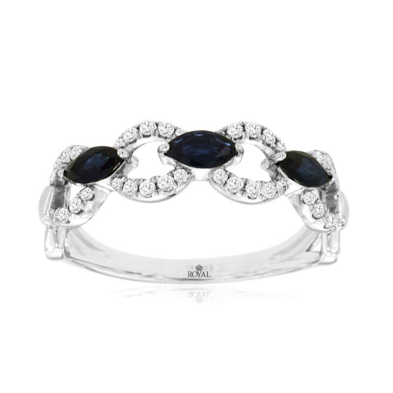 Murphy Pitard Signature Collection Diamond & Sapphire Link Stackable Band