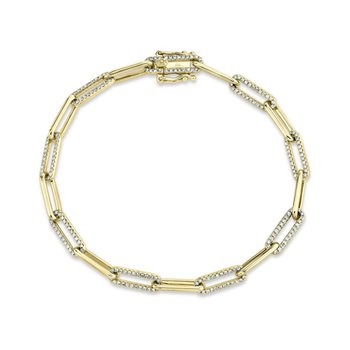 Diamond & Polished Fancy Link Bracelet
