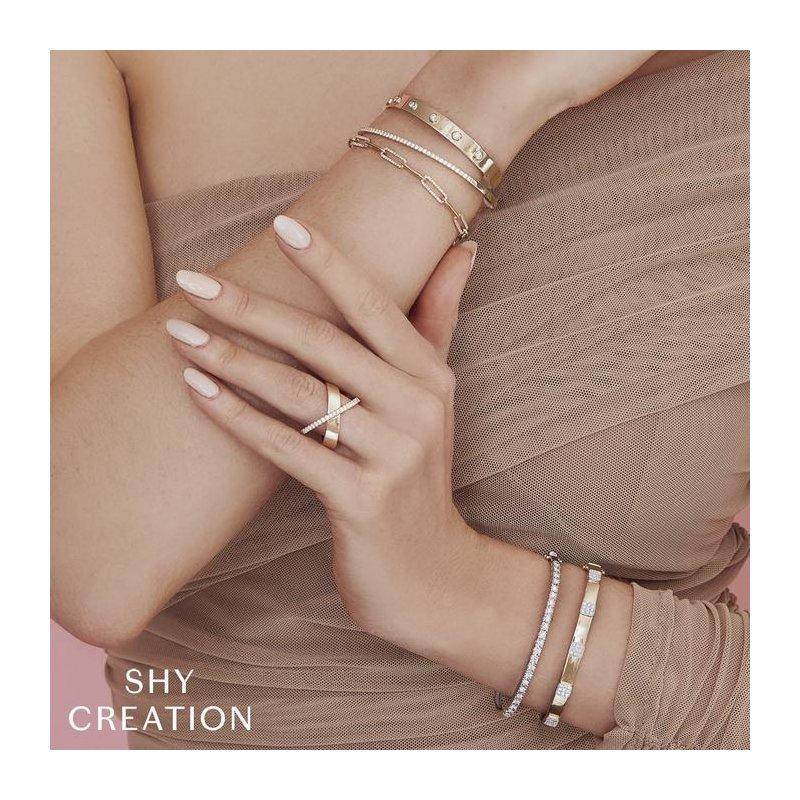 Shy Creation Diamond & Polished Fancy Link Bracelet