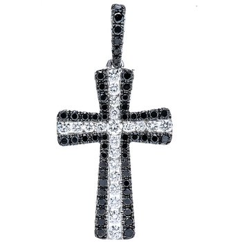 Diamond & Black Diamond 3/4 Carats Cross Pendant