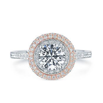 Two Tone Pave Halo Engagement Ring