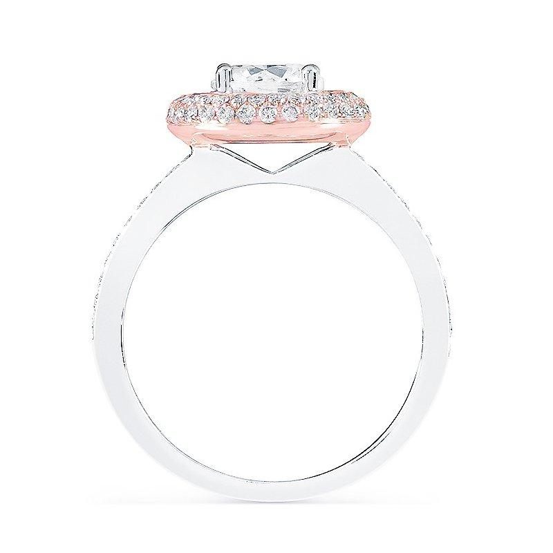 Diadori (Cheri Dori) Two Tone Pave Halo Engagement Ring