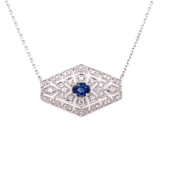 Vintage Inspired Diamond Accented Sapphire Necklace