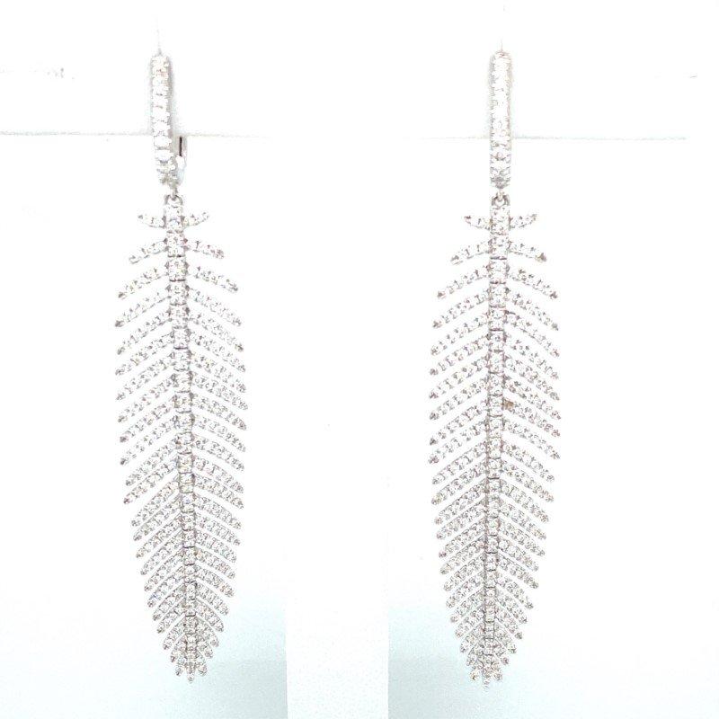 Murphy Pitard Signature Collection Diamond Dangle Feather Earrings
