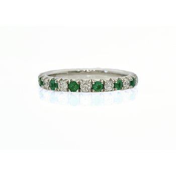 Straight Diamond and Emerald Band