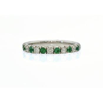 Straight Diamond and Emerald Band