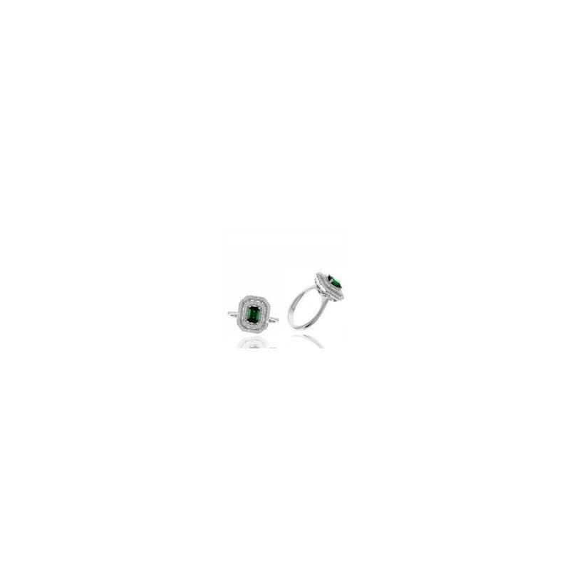 Murphy Pitard Signature Collection Emerald Double Halo Diamond Ring