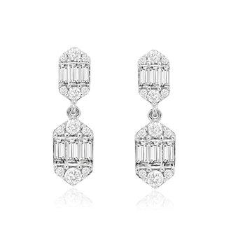 Diamond & Baguette Diamond Drop Fashion Earrings