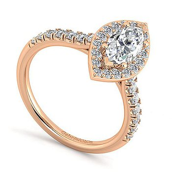 Marquise Halo Diamond Accented Engagement Ring