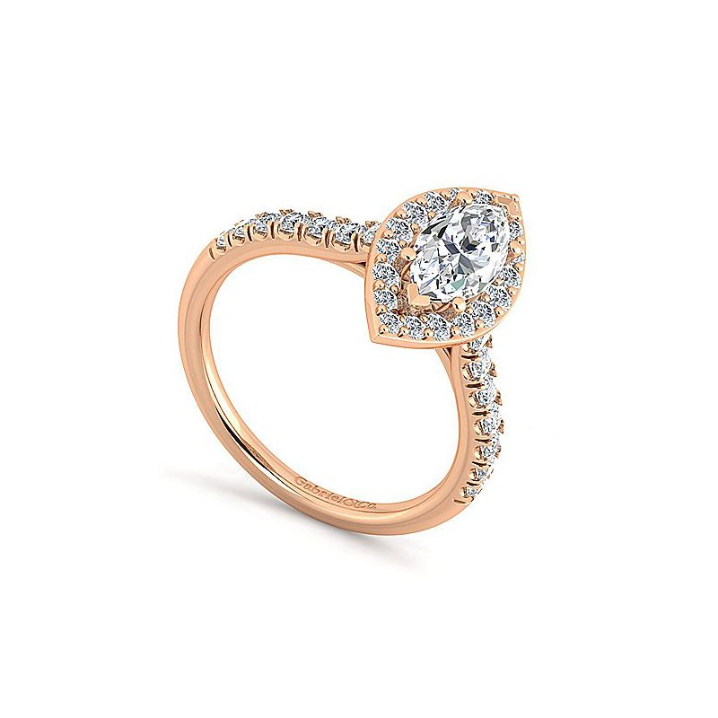 Gabriel & Co. New York Marquise Halo Diamond Accented Engagement Ring