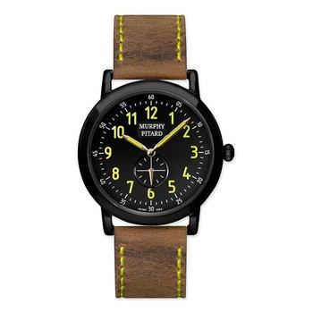 Murphy Pitard Black IP Stainless Steel Leather Band Luminous Watch