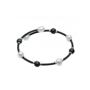 Freshwater Pearl & Quartz Bangle Bracelet