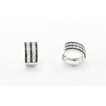 Black & White Stripped Diamond Huggie Earrings