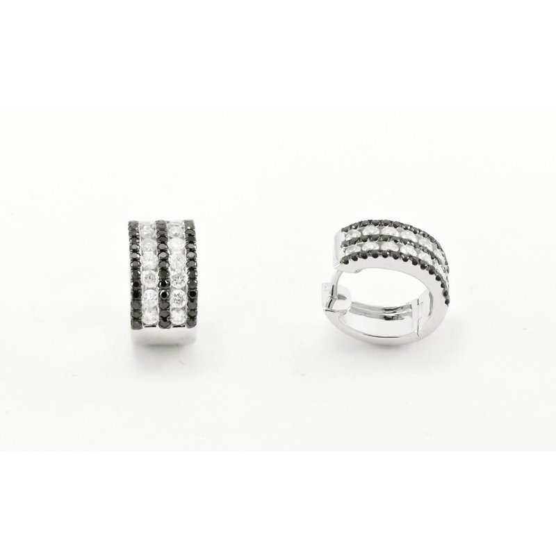 Murphy Pitard Signature Collection Black & White Stripped Diamond Huggie Earrings