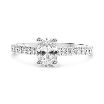 Diamond Accented oval 4 Prong Engagement Ring