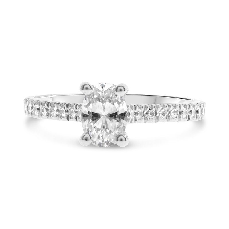 Murphy Pitard Signature Collection Diamond Accented oval 4 Prong Engagement Ring