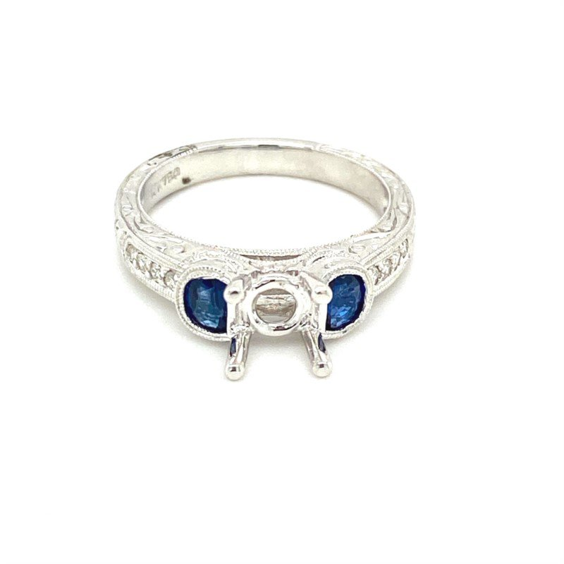 Murphy Pitard Signature Collection Vintage Inspired Diamond & Sapphire Side Stone Engagement Ring
