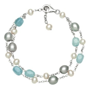 Freshwater Pearl and Aquamarine Double Strand Bracelet