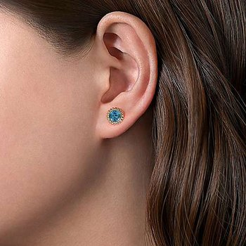 Swiss Blue Topaz Beaded Stud Earrings