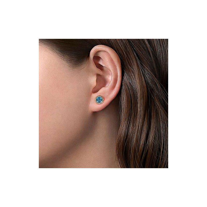 Gabriel & Co. New York Swiss Blue Topaz Beaded Stud Earrings
