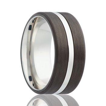 Cobalt Chrome Carbon Fiber Wedding Band, Size 8