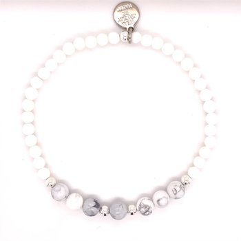 Silver Fox White and Gray Beaded Stretch Bracelet