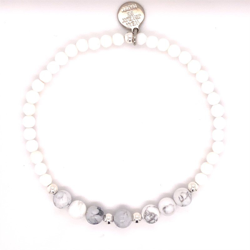 Dee Berkley Silver Fox White and Gray Beaded Stretch Bracelet