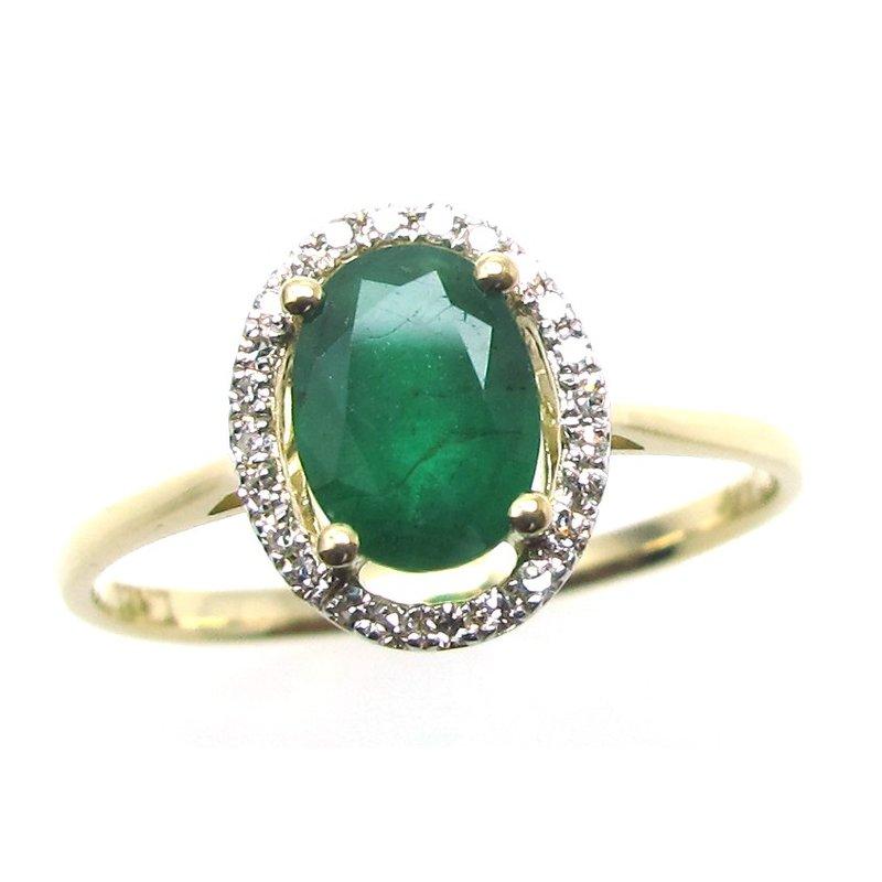Murphy Pitard Signature Collection Emerald & Diamond Halo Ring