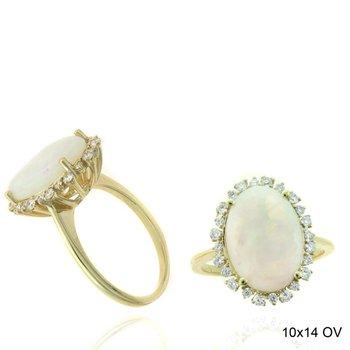 Oval Opal & Diamond Halo Fashion Ring