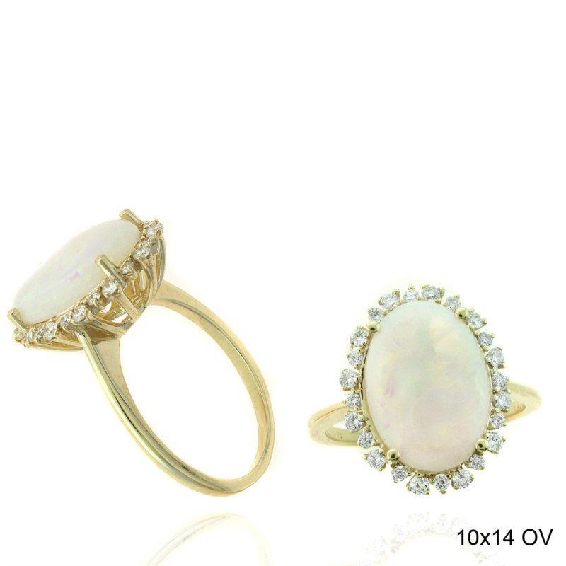 Murphy Pitard Signature Collection Oval Opal & Diamond Halo Fashion Ring