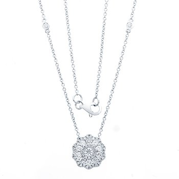 Scalloped Diamond Halo Pendant Necklace, 3/4 Carats