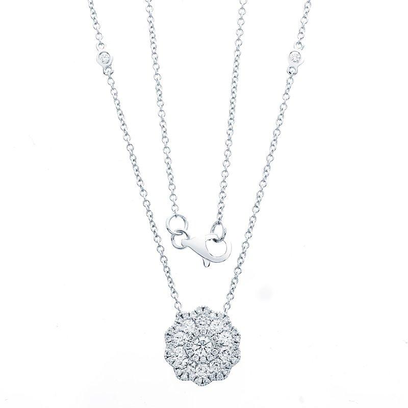 Murphy Pitard Signature Collection Scalloped Diamond Halo Pendant Necklace, 3/4 Carats