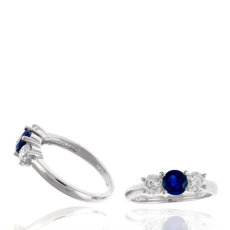 Murphy Pitard Signature Collection Diamond & Sapphire Three Stone Ring