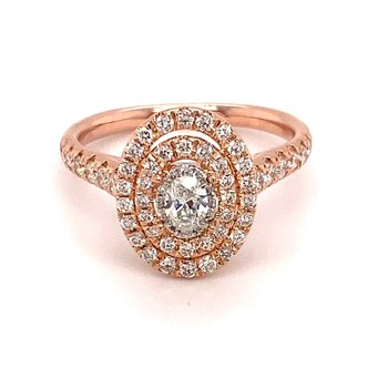 Diamond 3/4 Carats Oval Double Halo Engagement Ring