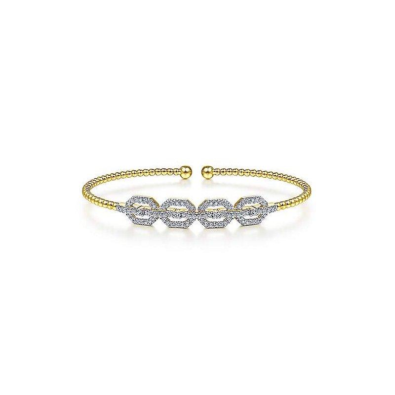 Gabriel & Co. New York Diamond Link Bujukan Cuff Bracelet