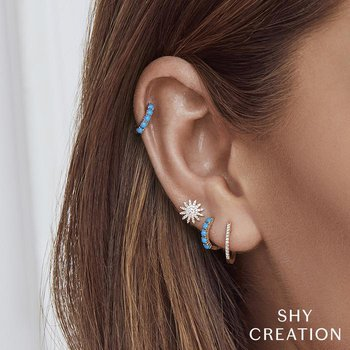 Kate Collection Turquoise Huggie Earrings