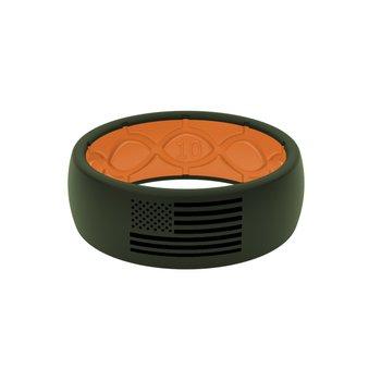 Moss Green & Orange Silicone Band - Size 10