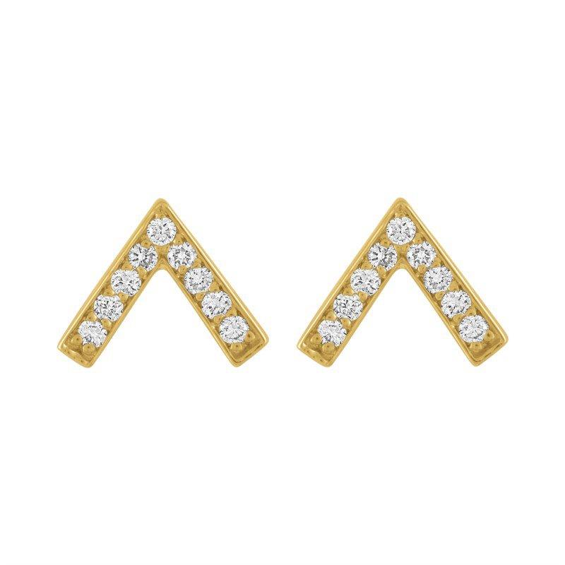 Kaspar and Esh Diamond Chevron Stud Earrings