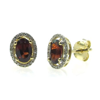 Garnet & Diamond Halo Stud Earrings