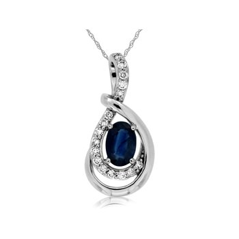 Sapphire & Diamond Drop Pendant Necklace