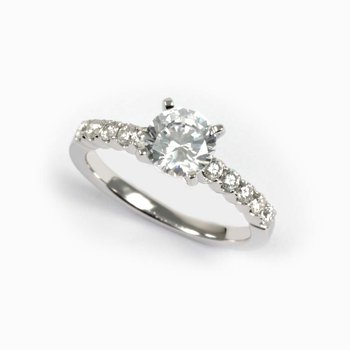 Diamond Side Stone Accented Round Engagement Ring
